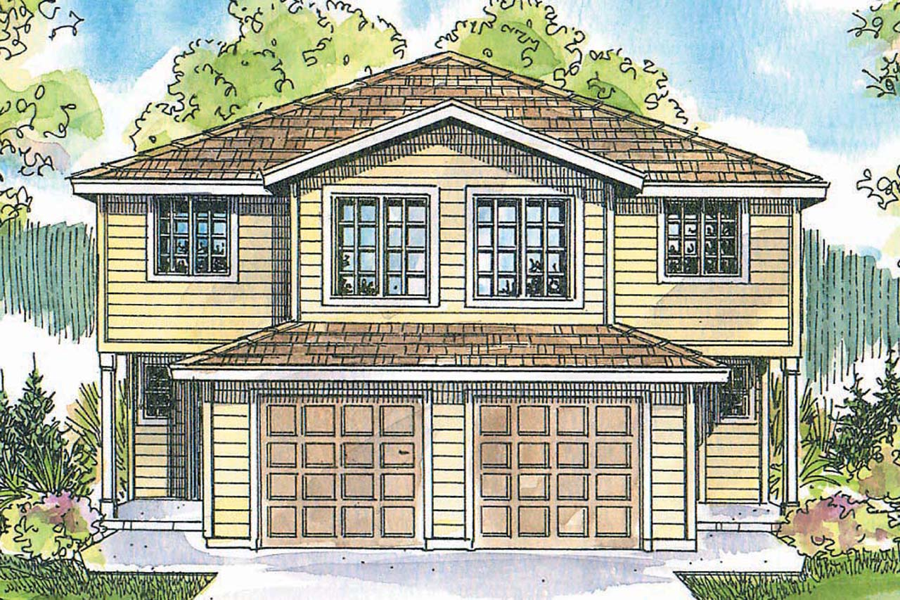 Craftsman house plans toliver 60 020 associated designs for Duplex cottage plans