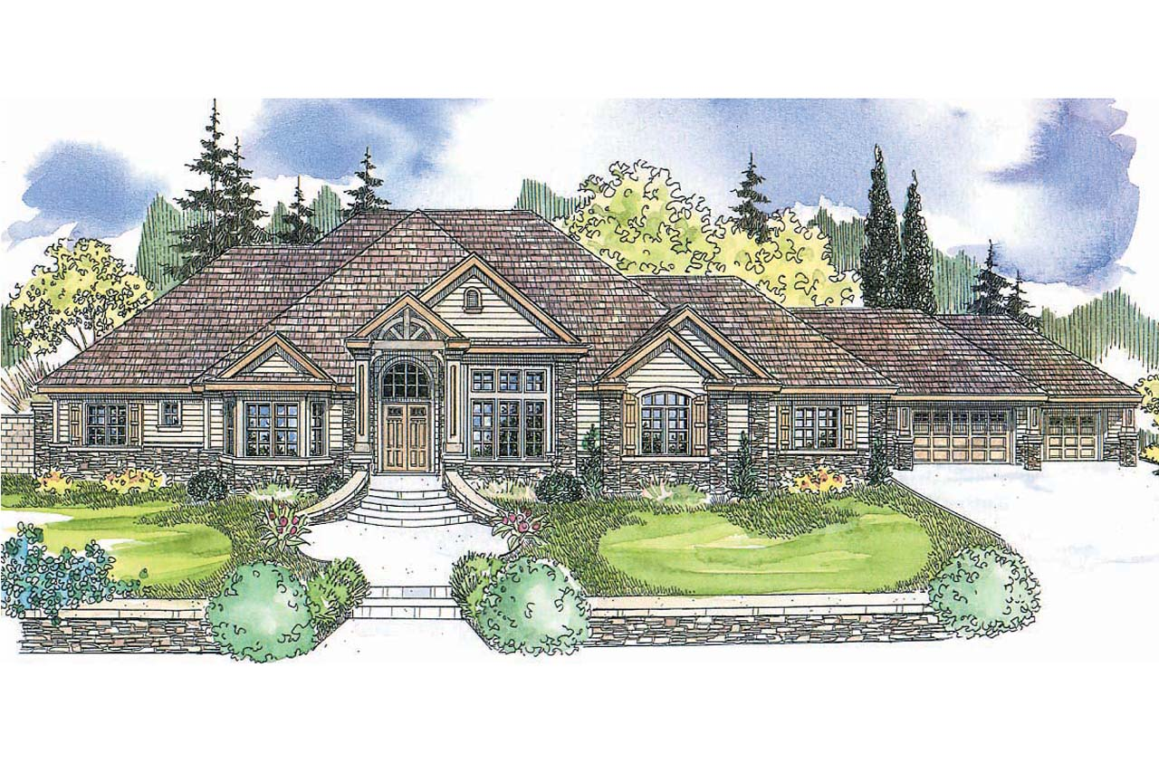 Front Elevation For 1 Story : European house plans bentley associated designs