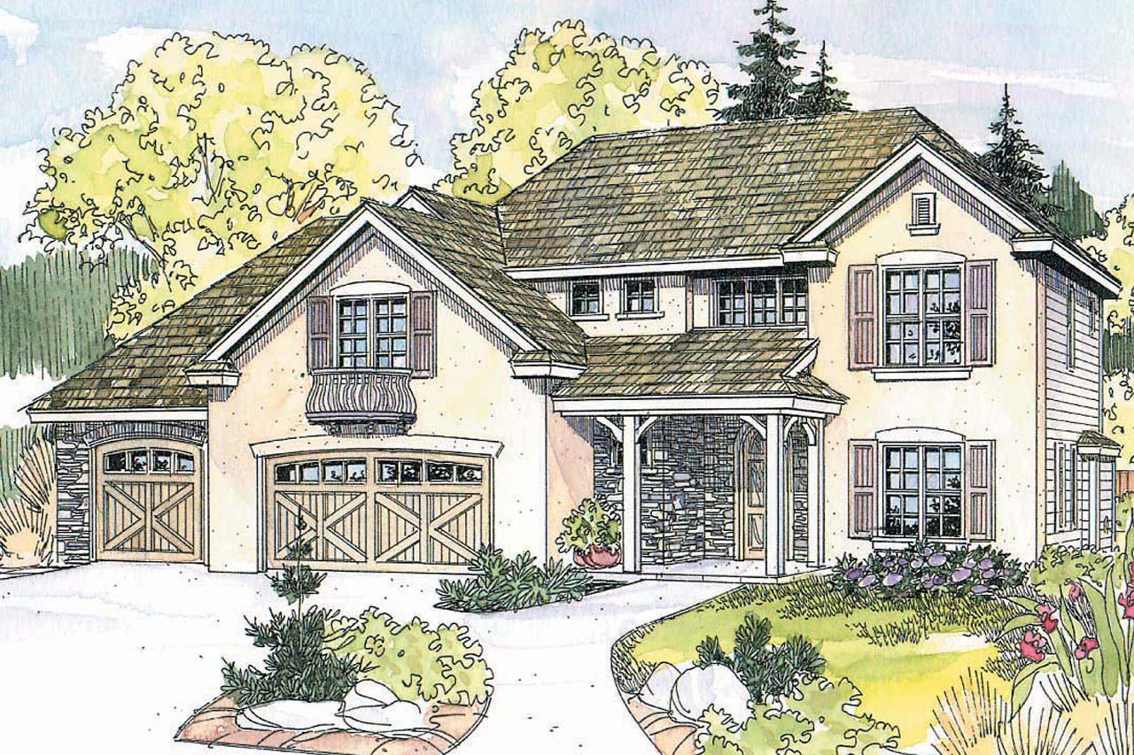 European House Plan   Sausalito 30 521   Front Elevation ...