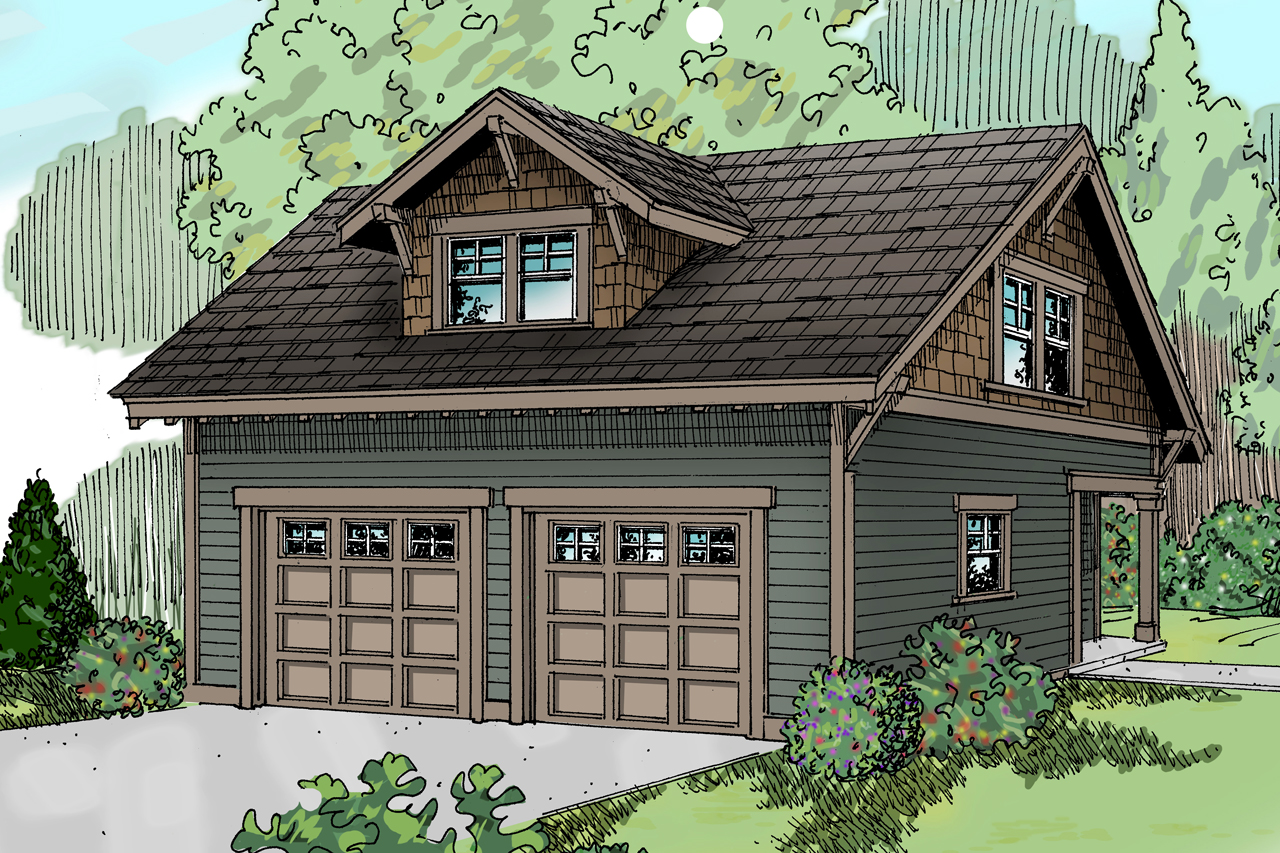 Craftsman house plans garage w studio 20 007 for 2 car garage design ideas