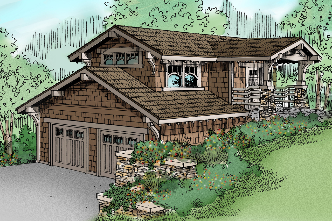 Craftsman house plans garage w living 20 008 Hillside garage plans