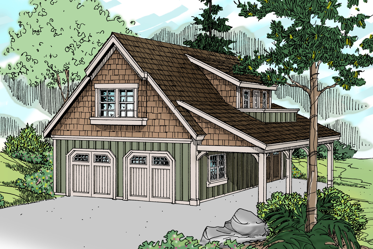 Craftsman house plans garage w living 20 020 for 2 bay garage plans