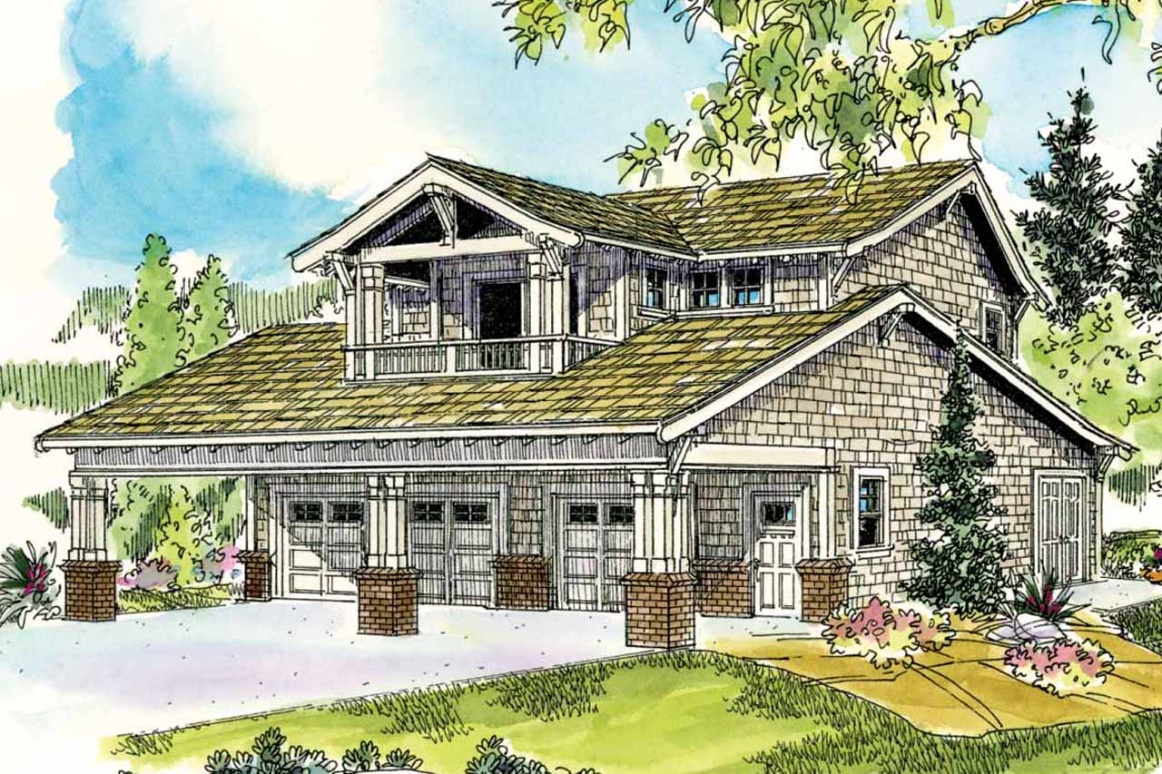 Bungalow house plans garage w apartment 20 052 for Front garage house plans