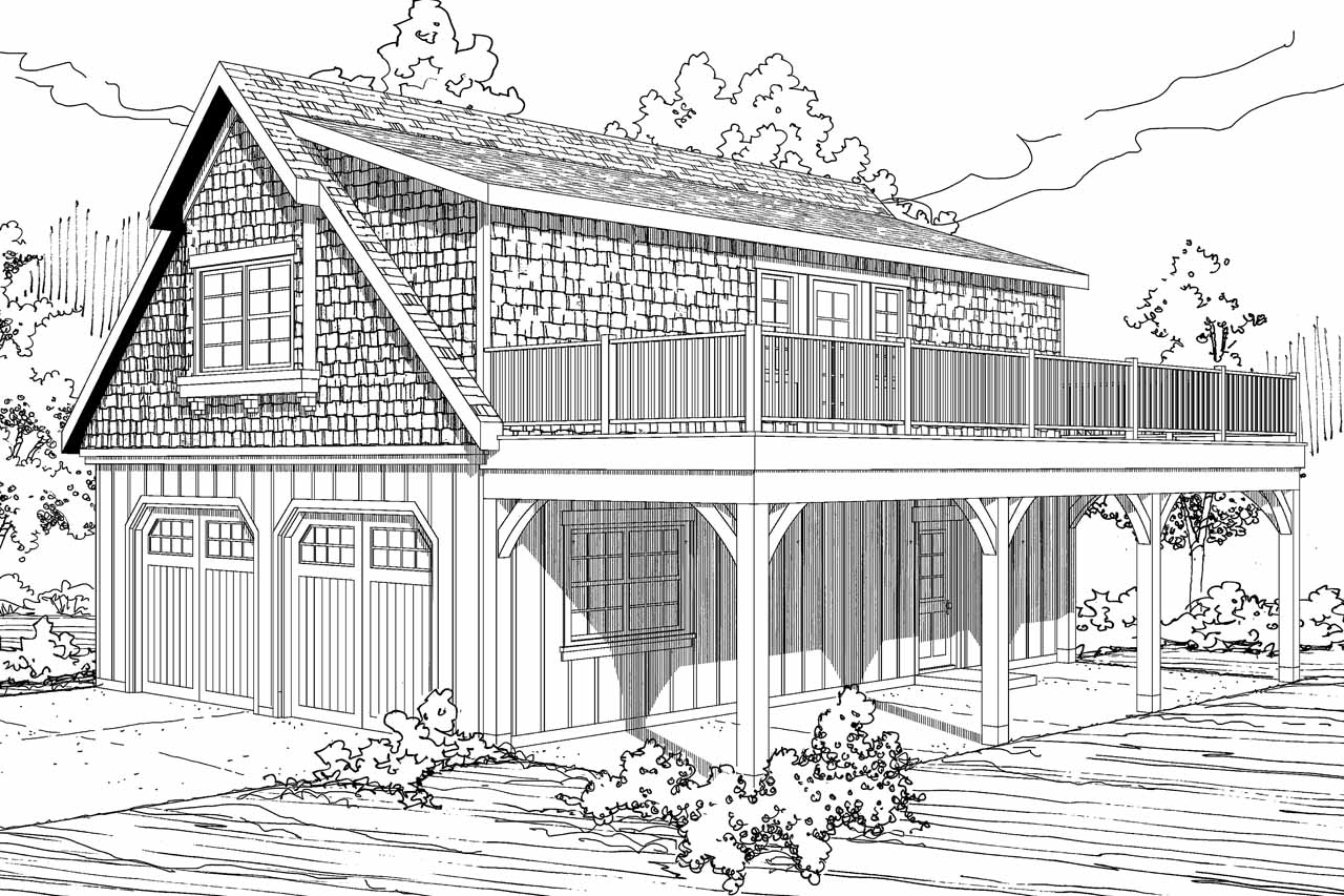 Shingle Style House Plans - 2 car Garage w/Loft 20-061 ...