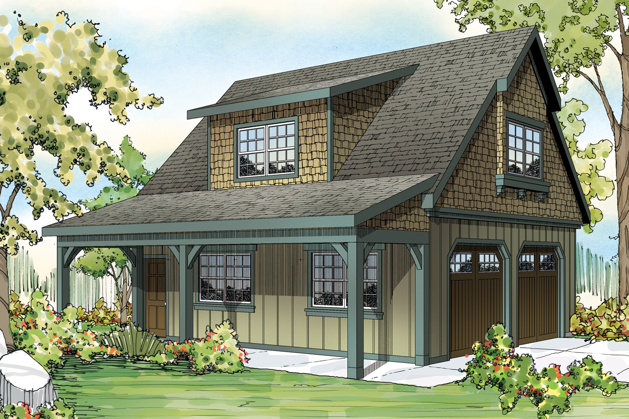 Craftsman house plans 2 car garage w attic 20 087 for House plans with detached garage apartments