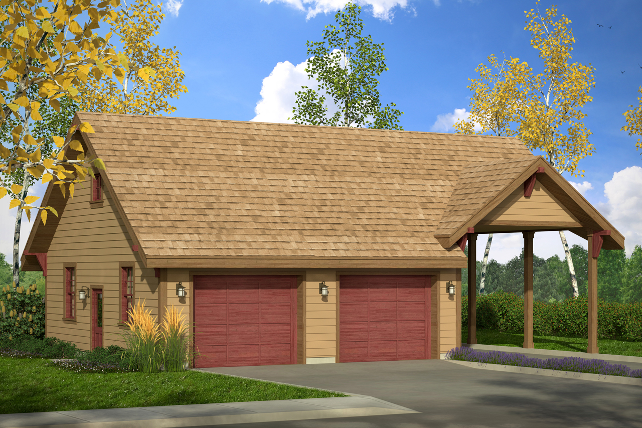 country house plans - garage w  carport 20-092