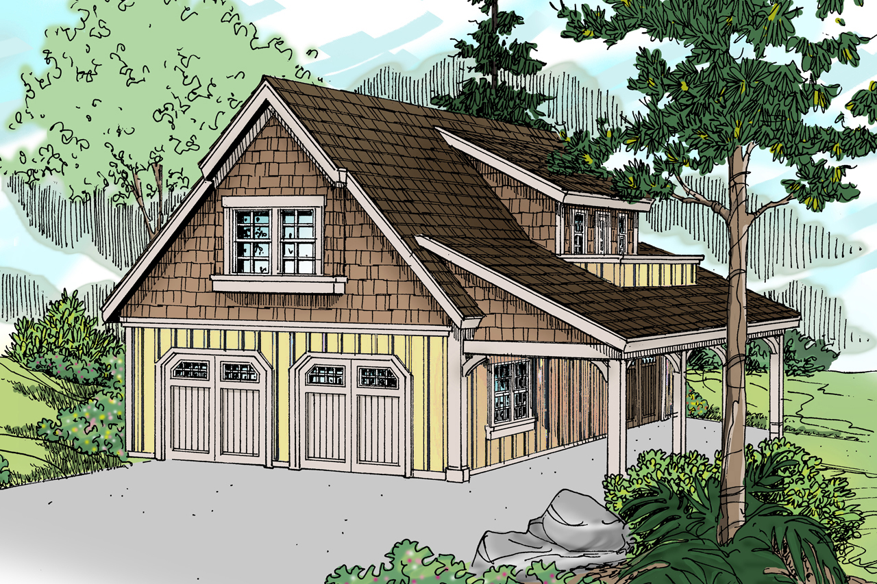 Craftsman house plans garage w attic 20 099 associated for Two car garage designs