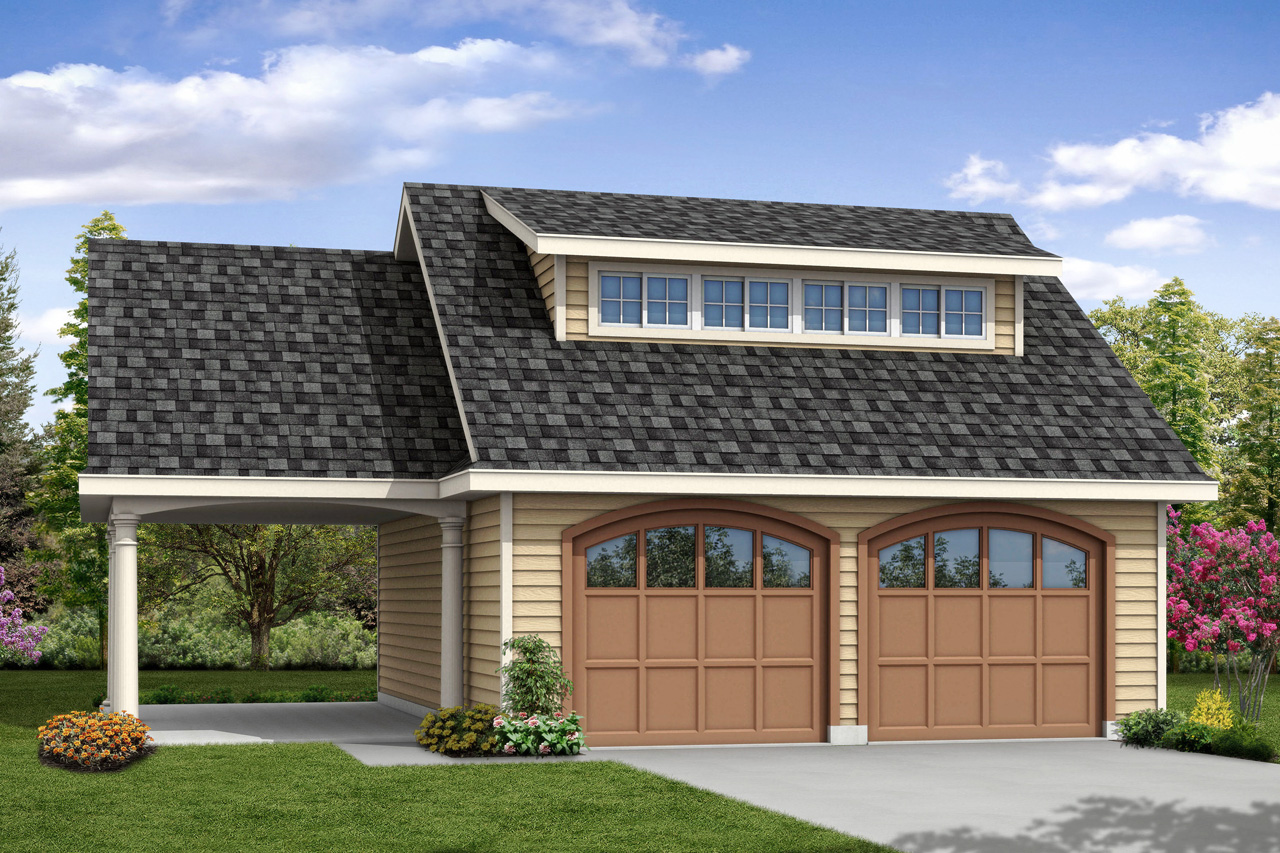 Traditional house plans garage w carport 20 107 for Traditional garage
