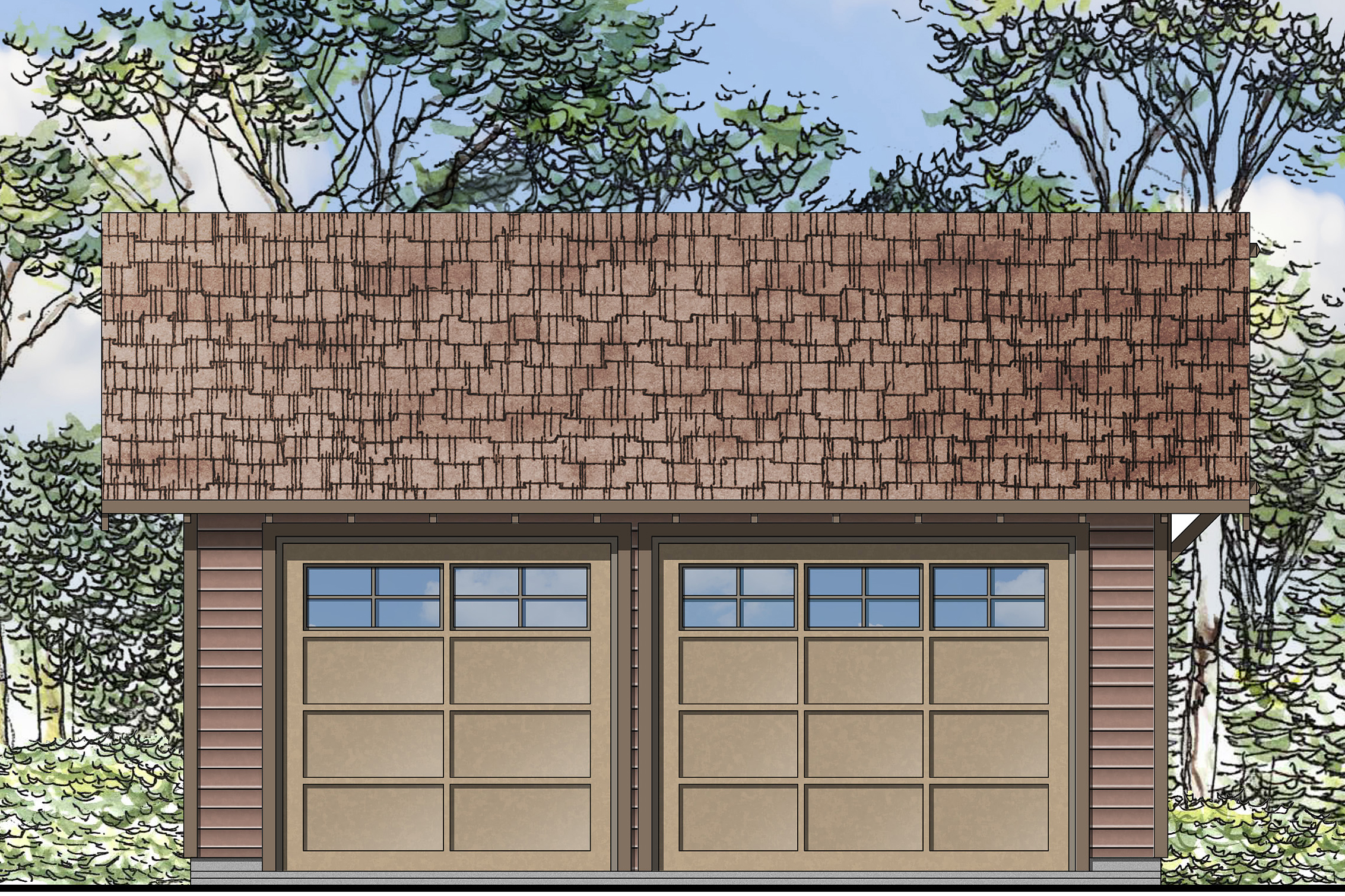 2 Car Garage Plan, Two Car Garage Plan, Garage 20-108