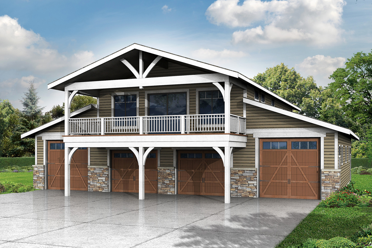 New 2 story garage plan with recreation room associated for Garage apartment ideas