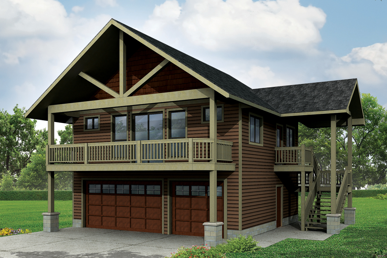 Craftsman house plans garage w apartment 20 152 for 3 bedroom garage apartment
