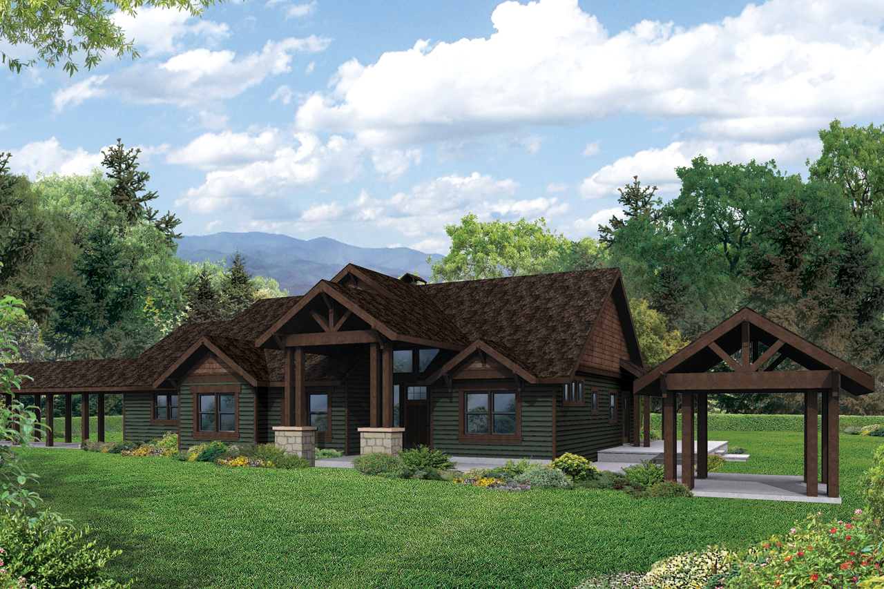 Lodge style house plans cedar height 30 975 associated for Cabin style homes