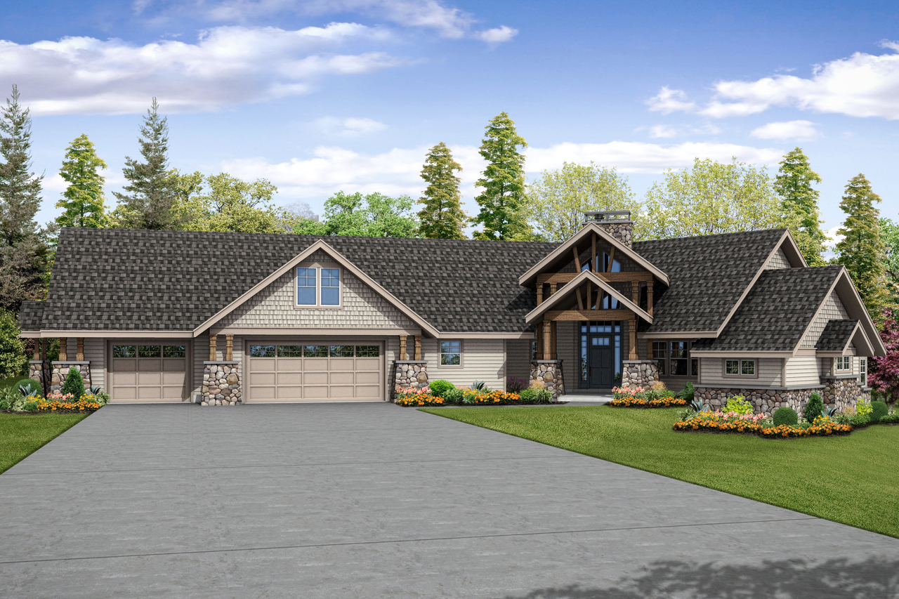 New House Plan, Lodge Style Home Plan, Luxury House Design