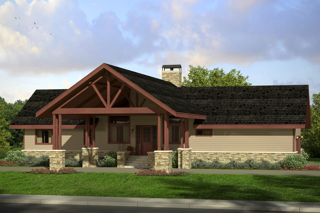 superior house plans lodge style #9: Lodge Style House Plan - Spindrift 31-016 - Front Elevation ...