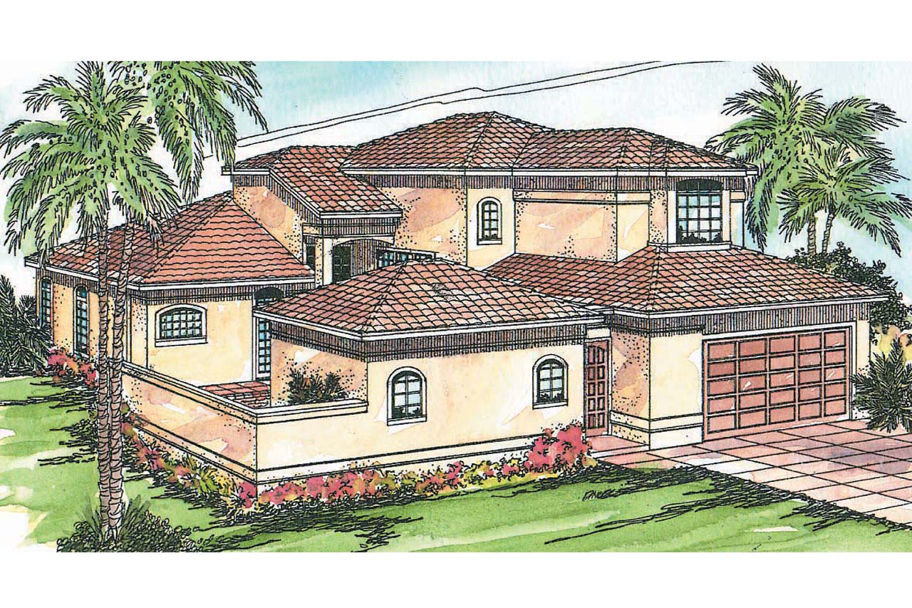 mediterranean house plan coronado 11 029 front elevation - Pool House Plans