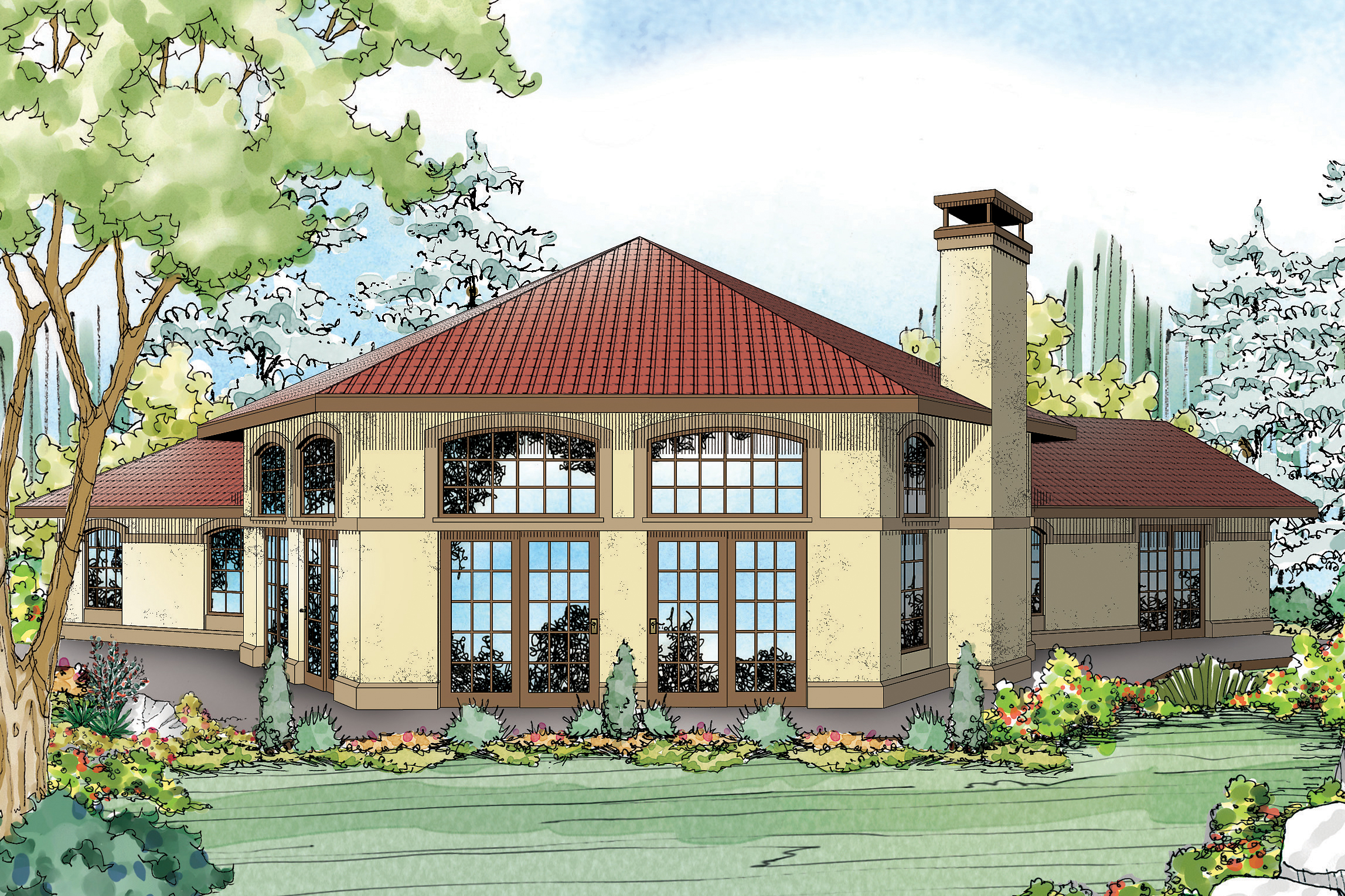Mediterranean House Plan   Rosabella 11 137   Rear Elevation ...
