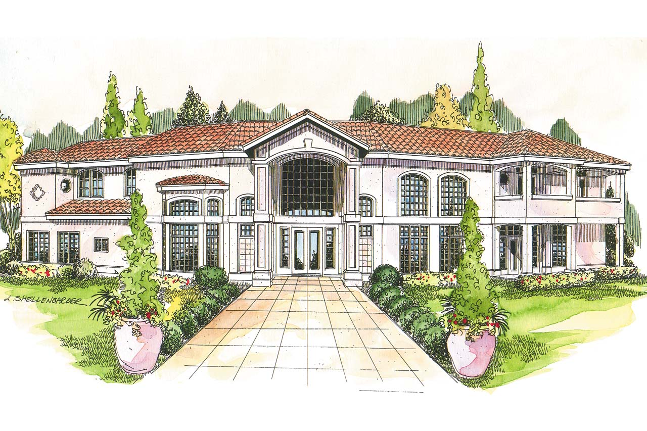Mediterranean house plans veracruz 11 118 associated for Two story mediterranean house plans
