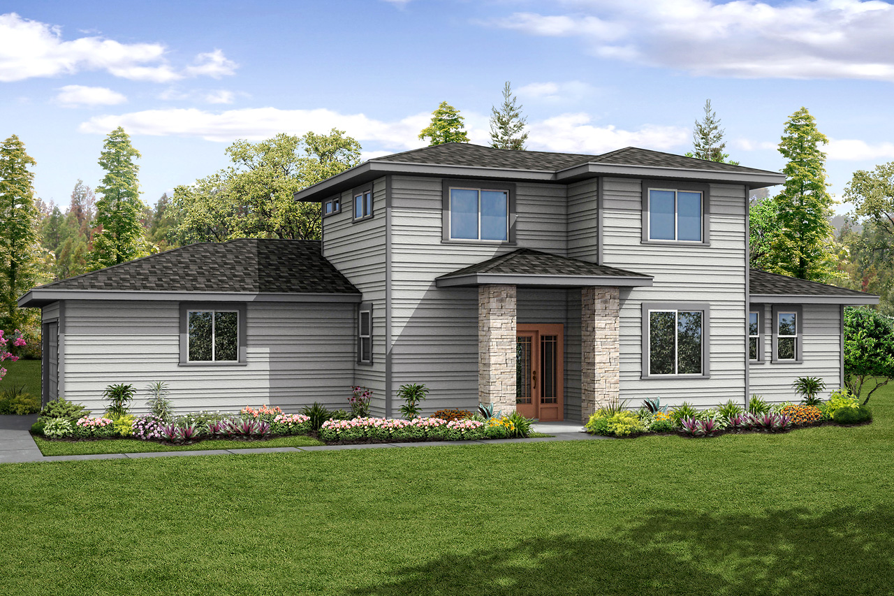 Prairie style exterior gives modern update to classic for Prairie style home plans