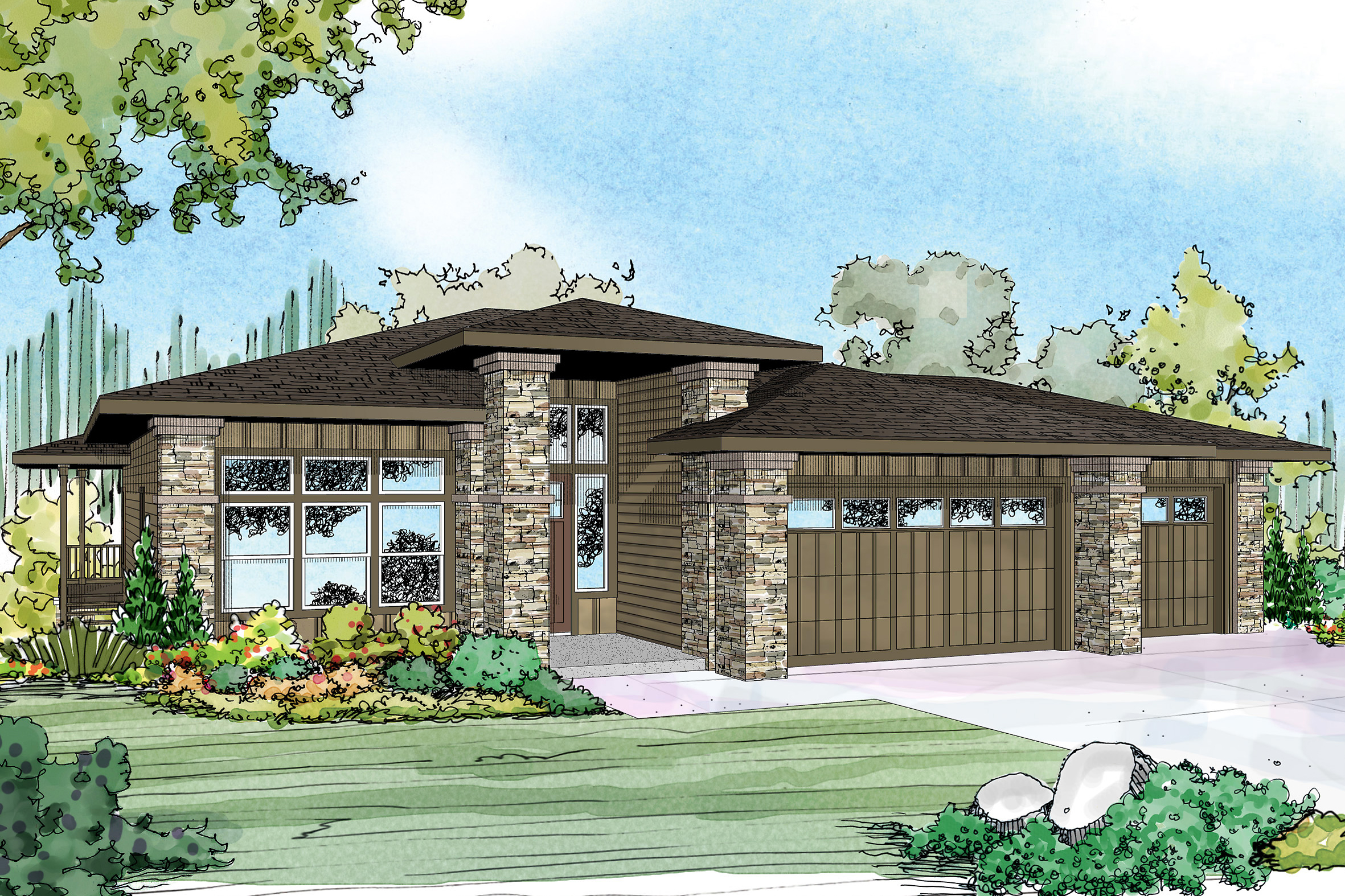New prairie style house plan hood river 30 947 sloping for River home plans