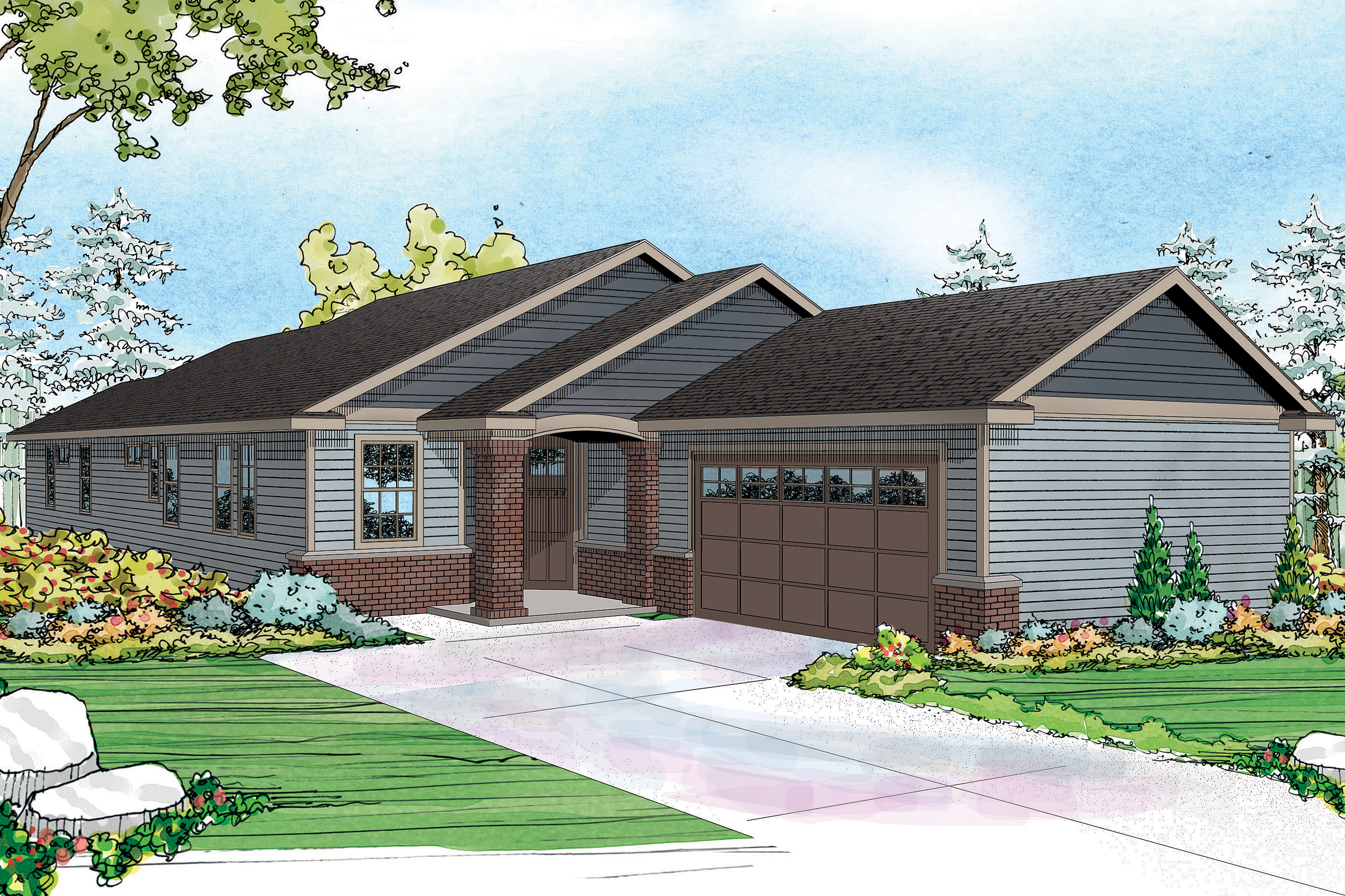 Contemporary ranch design fits well on narrow lot for Modern ranch style house plans