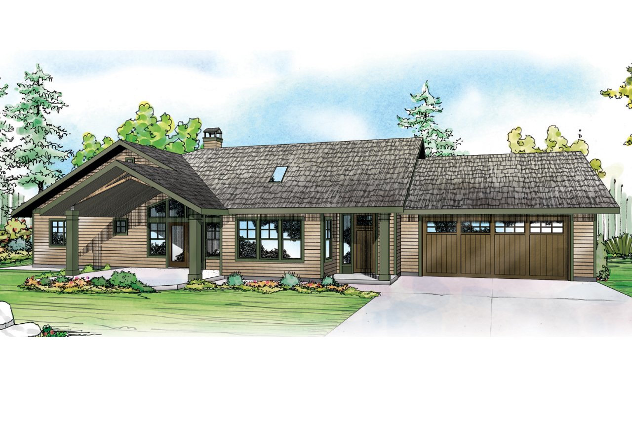 ranch house plan elk lake 30 849 front elevation - Rectangle House Plans