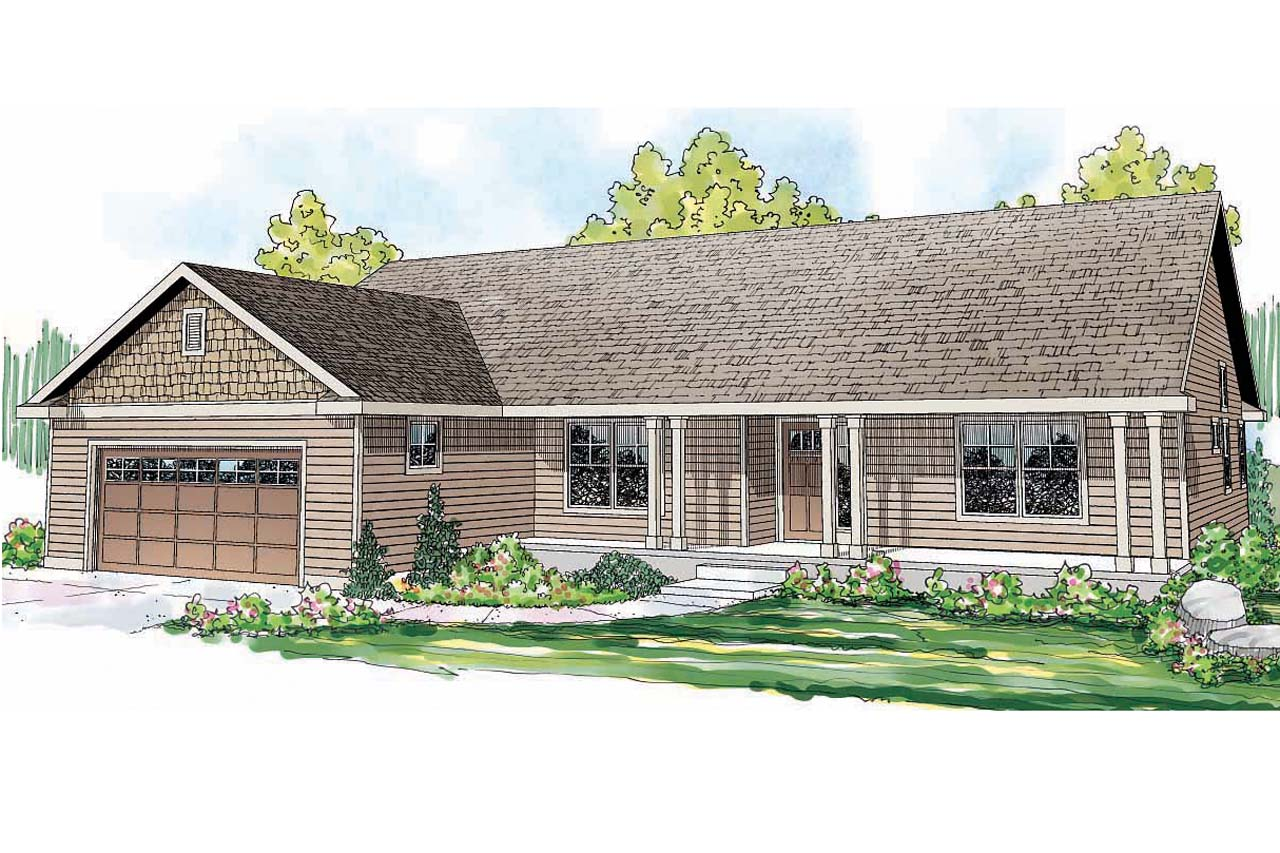 Front view house plans joy studio design gallery best for Ranch home with porch