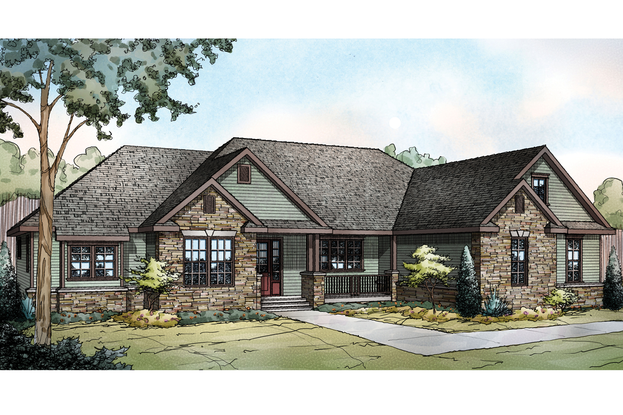 Ranch house plan manor heart 10 590 front elevation