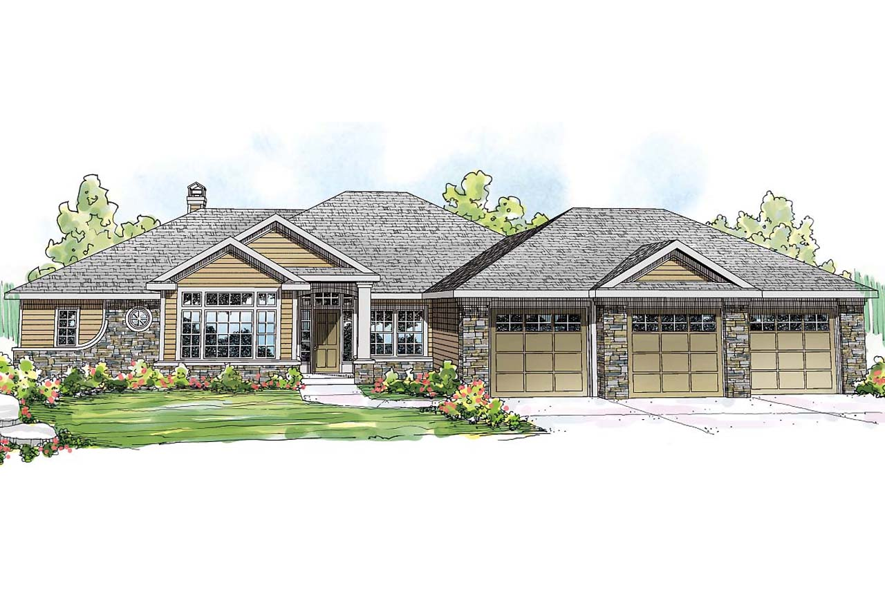 Ranch house plan meadow lake 30 767 front elevation