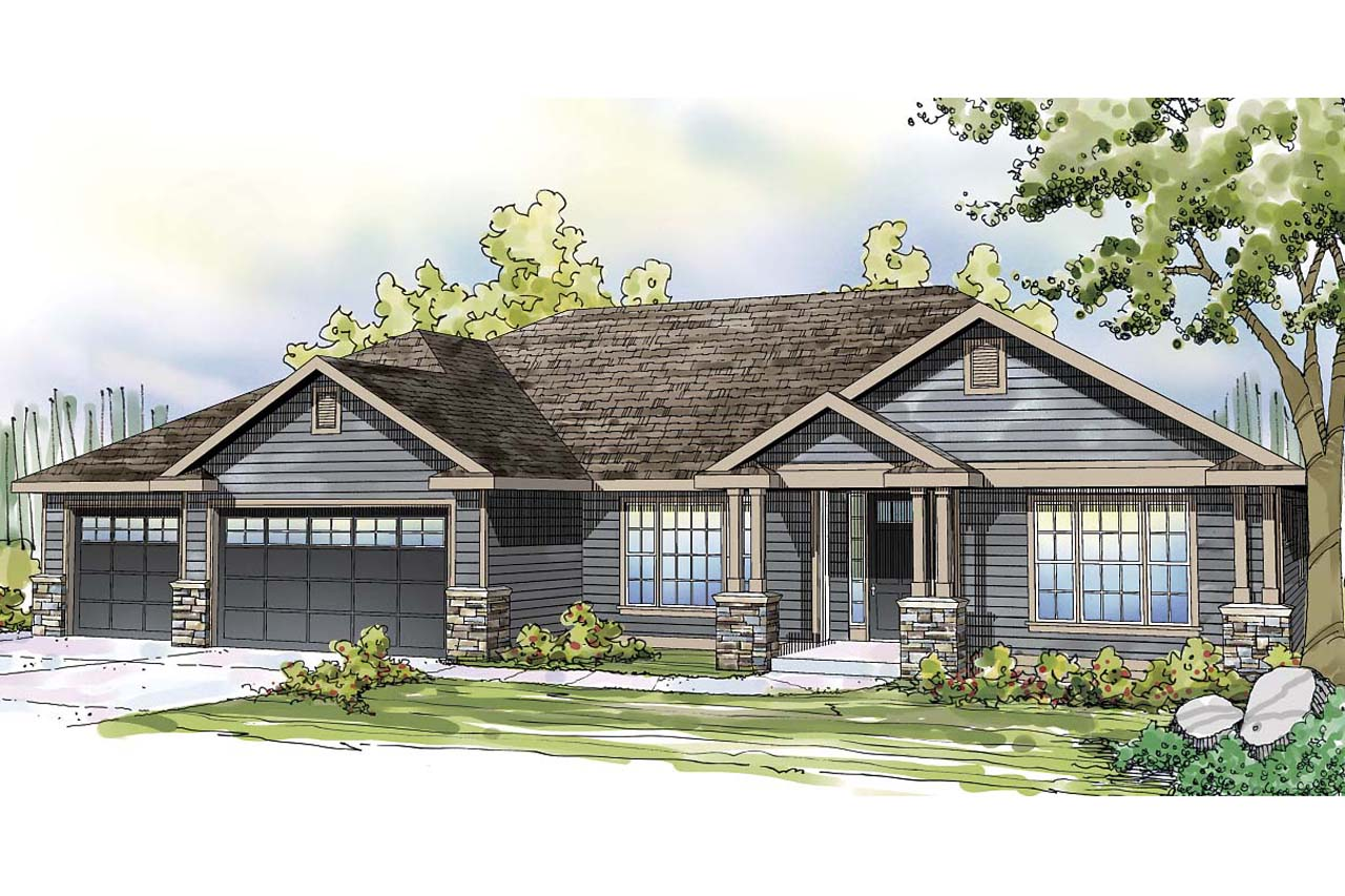 Ranch house plans oak hill 30 810 associated designs for One story ranch style home floor plans