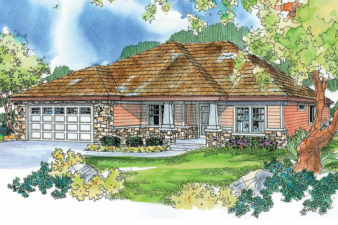 Ranch House Plan - Riverside 30-658 - Front Elevation