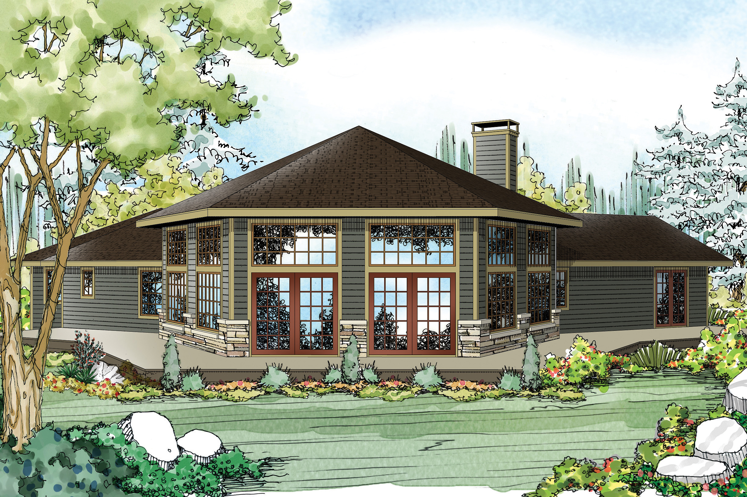 Ranch House Plan   Silvercrest 11 143   Rear Elevation ...