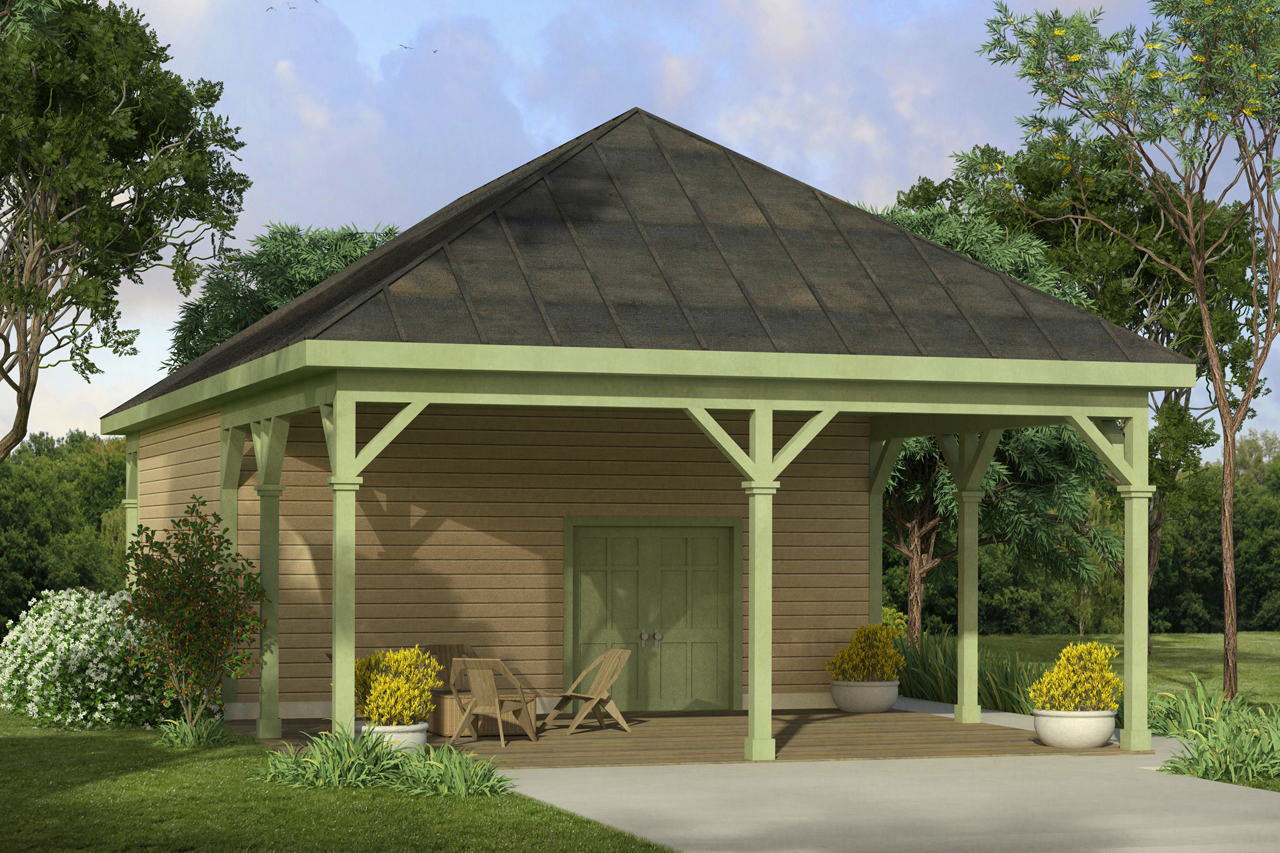 country house plans - shop w  carport 20-172