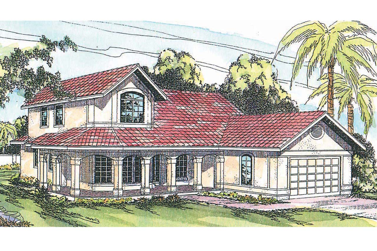 Spanish style house plans kendall 11 092 associated for Spanish house plans