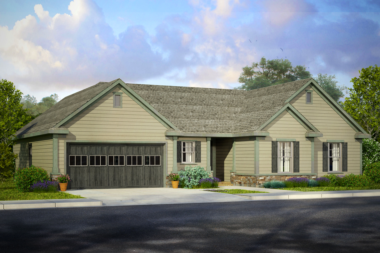 Take a look at our newtraditional ranch style design for Traditional ranch home plans