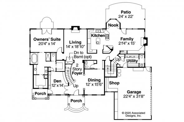 Colonial House Plan - Palmary 10-404 - First Floor Plan