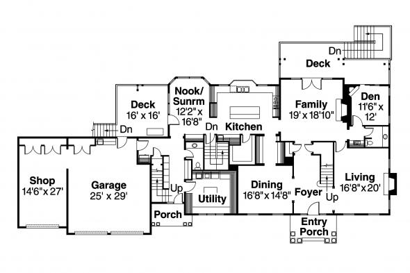 Colonial House Plan - Princeton 30-497 - 1st Floor Plan