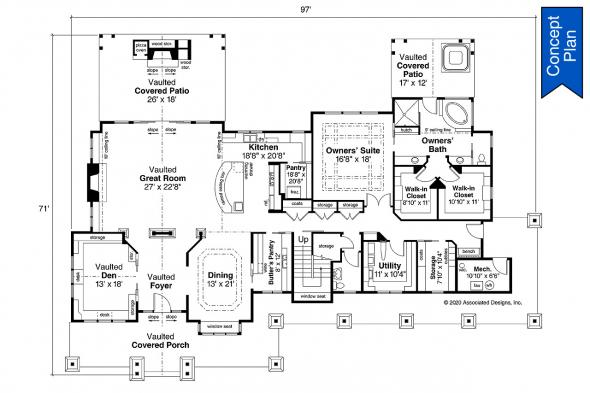 Craftsman House Plan - Elk Cove 31-224 - First Floor Plan
