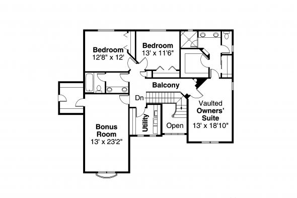 European House Plan - Sausalito 30-521 - 2nd Floor Plan