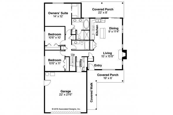 Ranch House Plan - Andover 30-824 - Floor Plan