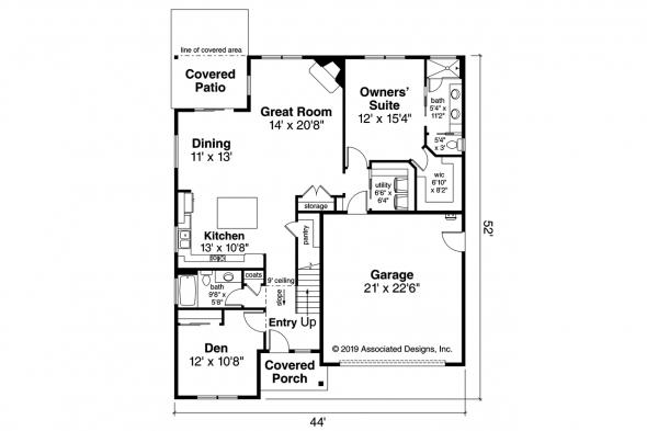 Traditional House Plan - Amarillo 31-139 - First Floor