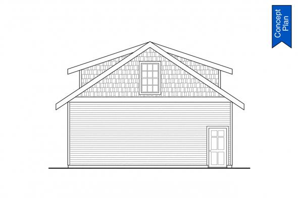 2 Story Detached Garage Plan - Elk Cove 31-224 - Garage Left Elevation