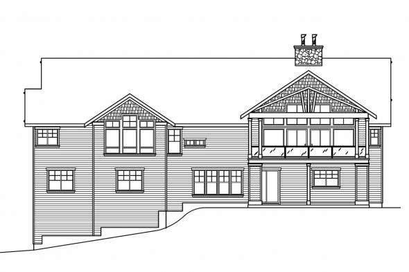 Bungalow House Plan - Pacifica 30-683 - Rear Elevation