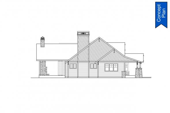 Country House Plan - Elk Cove 31-224 - Left Elevation