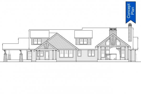 Craftsman House Plan - Elk Cove 31-224 - Rear Elevation