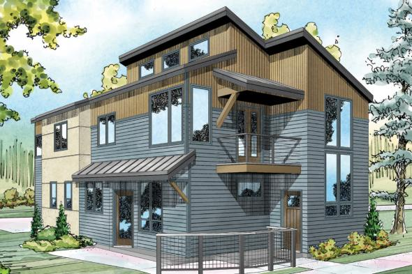 Contemporary House Plan - Parkview 30-905 - Front Elevation