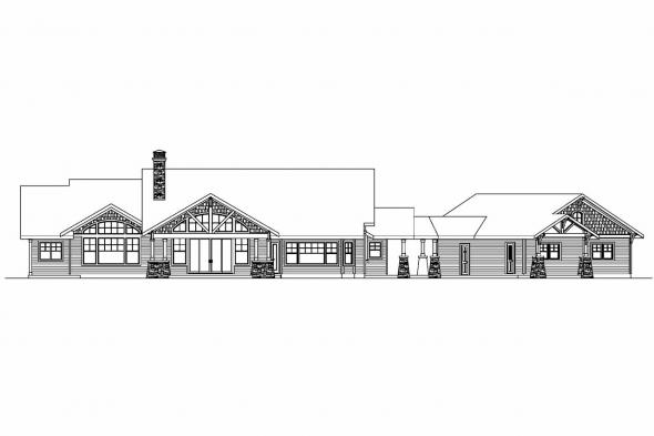 Country House Plan - Arborgate 30-654 - Rear Elevation