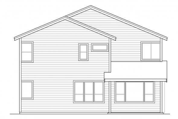 Traditional House Plan - Bridgeview 31-015 - Rear Elevation