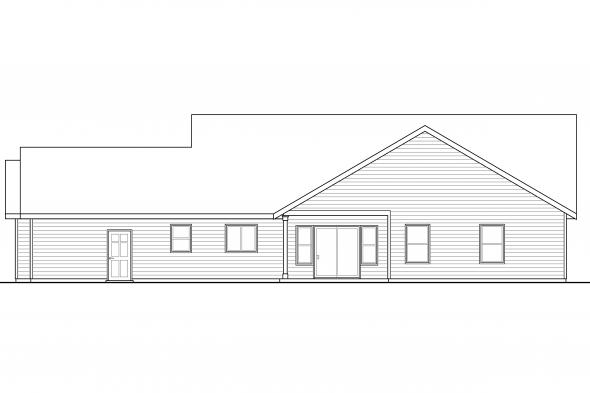 Country House Plan - Brightheart 10-610 - Rear Elevation
