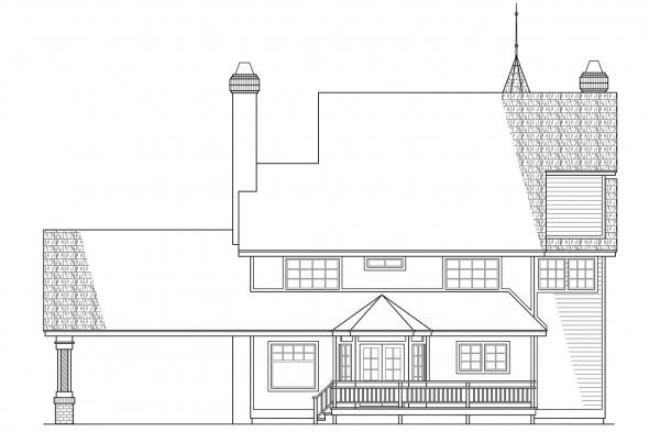 Country House Plan - Gibson 10-030 - Rear Elevation