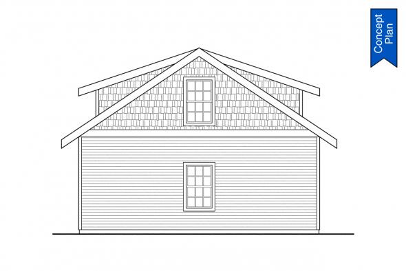 Detached Garage Plan - Elk Cove 31-224 - Garage Right Elevation